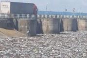 IMAGINEA ZILEI! Ploile din ultimele saptamani au transformat Oltul intr-o imensa groapa de gunoi la barajul de la Draganesti Olt!