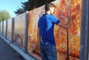Un absolvent de Teologie schimba fata orasului Ramnicu Valcea! Picturi stradale realizate in ulei, dupa tehnica lui Grigorescu, vor fi omologate in Cartea Recordurilor!